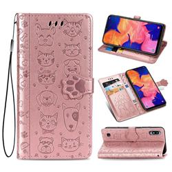 Embossing Dog Paw Kitten and Puppy Leather Wallet Case for Samsung Galaxy A10 - Rose Gold