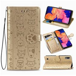 Embossing Dog Paw Kitten and Puppy Leather Wallet Case for Samsung Galaxy A10 - Champagne Gold