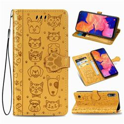 Embossing Dog Paw Kitten and Puppy Leather Wallet Case for Samsung Galaxy A10 - Yellow