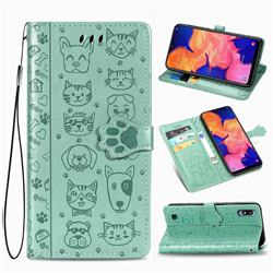 Embossing Dog Paw Kitten and Puppy Leather Wallet Case for Samsung Galaxy A10 - Green