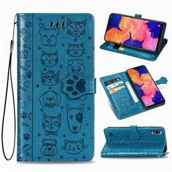 Embossing Dog Paw Kitten and Puppy Leather Wallet Case for Samsung Galaxy A10 - Blue