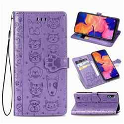 Embossing Dog Paw Kitten and Puppy Leather Wallet Case for Samsung Galaxy A10 - Purple