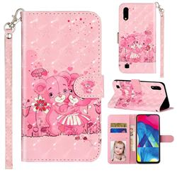 Pink Bear 3D Leather Phone Holster Wallet Case for Samsung Galaxy A10