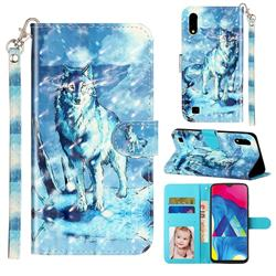 Snow Wolf 3D Leather Phone Holster Wallet Case for Samsung Galaxy A10