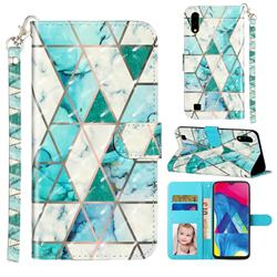 Stitching Marble 3D Leather Phone Holster Wallet Case for Samsung Galaxy A10