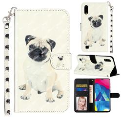 Pug Dog 3D Leather Phone Holster Wallet Case for Samsung Galaxy A10