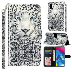 White Leopard 3D Leather Phone Holster Wallet Case for Samsung Galaxy A10