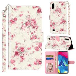Rambler Rose Flower 3D Leather Phone Holster Wallet Case for Samsung Galaxy A10