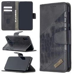BinfenColor BF04 Color Block Stitching Crocodile Leather Case Cover for Samsung Galaxy A10 - Black