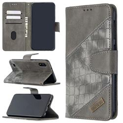 BinfenColor BF04 Color Block Stitching Crocodile Leather Case Cover for Samsung Galaxy A10 - Gray