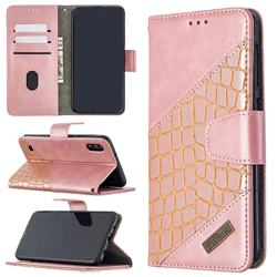 BinfenColor BF04 Color Block Stitching Crocodile Leather Case Cover for Samsung Galaxy A10 - Rose Gold