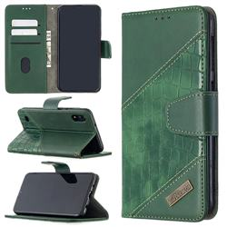 BinfenColor BF04 Color Block Stitching Crocodile Leather Case Cover for Samsung Galaxy A10 - Green