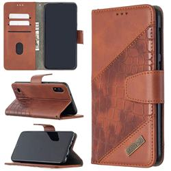 BinfenColor BF04 Color Block Stitching Crocodile Leather Case Cover for Samsung Galaxy A10 - Brown