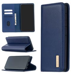 Binfen Color BF06 Luxury Classic Genuine Leather Detachable Magnet Holster Cover for Samsung Galaxy A10 - Blue