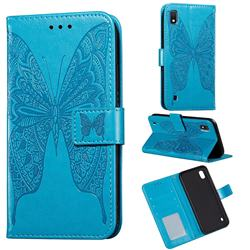 Intricate Embossing Vivid Butterfly Leather Wallet Case for Samsung Galaxy A10 - Blue