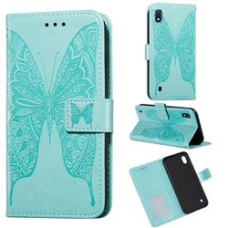Intricate Embossing Vivid Butterfly Leather Wallet Case for Samsung Galaxy A10 - Green