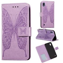 Intricate Embossing Vivid Butterfly Leather Wallet Case for Samsung Galaxy A10 - Purple