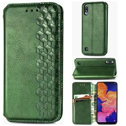 Ultra Slim Fashion Business Card Magnetic Automatic Suction Leather Flip Cover for Samsung Galaxy A10 - Green