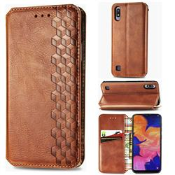 Ultra Slim Fashion Business Card Magnetic Automatic Suction Leather Flip Cover for Samsung Galaxy A10 - Brown