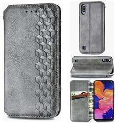 Ultra Slim Fashion Business Card Magnetic Automatic Suction Leather Flip Cover for Samsung Galaxy A10 - Grey