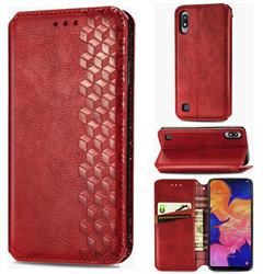 Ultra Slim Fashion Business Card Magnetic Automatic Suction Leather Flip Cover for Samsung Galaxy A10 - Red
