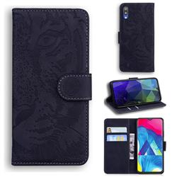 Intricate Embossing Tiger Face Leather Wallet Case for Samsung Galaxy A10 - Black