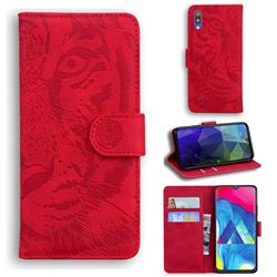 Intricate Embossing Tiger Face Leather Wallet Case for Samsung Galaxy A10 - Red