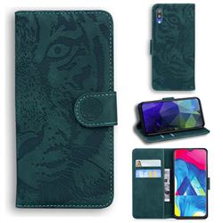 Intricate Embossing Tiger Face Leather Wallet Case for Samsung Galaxy A10 - Green