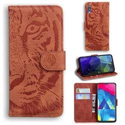 Intricate Embossing Tiger Face Leather Wallet Case for Samsung Galaxy A10 - Brown