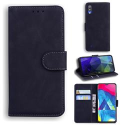 Retro Classic Skin Feel Leather Wallet Phone Case for Samsung Galaxy A10 - Black