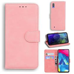 Retro Classic Skin Feel Leather Wallet Phone Case for Samsung Galaxy A10 - Pink