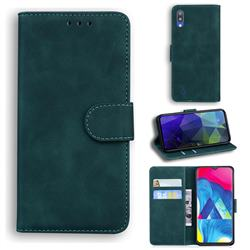 Retro Classic Skin Feel Leather Wallet Phone Case for Samsung Galaxy A10 - Green