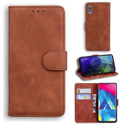 Retro Classic Skin Feel Leather Wallet Phone Case for Samsung Galaxy A10 - Brown