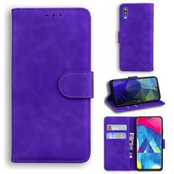 Retro Classic Skin Feel Leather Wallet Phone Case for Samsung Galaxy A10 - Purple