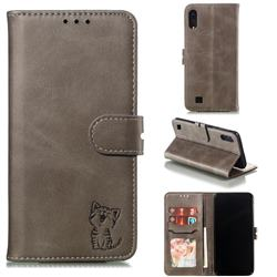 Embossing Happy Cat Leather Wallet Case for Samsung Galaxy A10 - Gray
