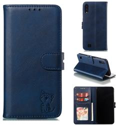 Embossing Happy Cat Leather Wallet Case for Samsung Galaxy A10 - Blue