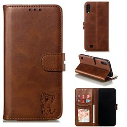 Embossing Happy Cat Leather Wallet Case for Samsung Galaxy A10 - Brown