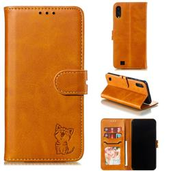 Embossing Happy Cat Leather Wallet Case for Samsung Galaxy A10 - Yellow