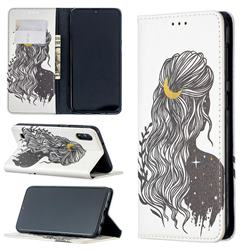Girl with Long Hair Slim Magnetic Attraction Wallet Flip Cover for Samsung Galaxy A10
