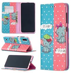 Elephant Boy and Girl Slim Magnetic Attraction Wallet Flip Cover for Samsung Galaxy A10