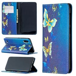 Gold Butterfly Slim Magnetic Attraction Wallet Flip Cover for Samsung Galaxy A10