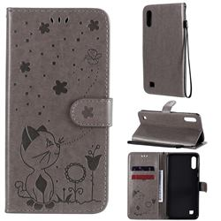 Embossing Bee and Cat Leather Wallet Case for Samsung Galaxy A10 - Gray