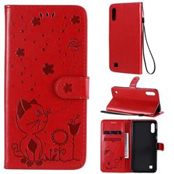 Embossing Bee and Cat Leather Wallet Case for Samsung Galaxy A10 - Red