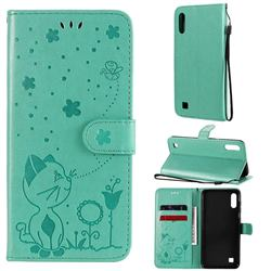 Embossing Bee and Cat Leather Wallet Case for Samsung Galaxy A10 - Green