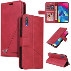 GQ.UTROBE Right Angle Silver Pendant Leather Wallet Phone Case for Samsung Galaxy A10 - Red