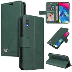 GQ.UTROBE Right Angle Silver Pendant Leather Wallet Phone Case for Samsung Galaxy A10 - Green