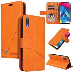 GQ.UTROBE Right Angle Silver Pendant Leather Wallet Phone Case for Samsung Galaxy A10 - Orange