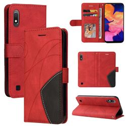 Luxury Two-color Stitching Leather Wallet Case Cover for Samsung Galaxy A10 - Red