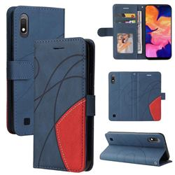 Luxury Two-color Stitching Leather Wallet Case Cover for Samsung Galaxy A10 - Blue