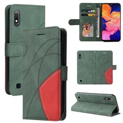 Luxury Two-color Stitching Leather Wallet Case Cover for Samsung Galaxy A10 - Green